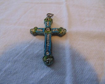 vintage gold filled micro mosaic cross pendant edwardian victorian floral colorful tiles