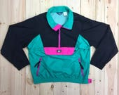 Color Block Windbreaker Rain Jacket Woolrich Unisex Men's Small Women's Large Pullover Zippered Teal Pink Black Vintage 1990's Neon Rave