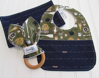 Newborn Gift Set/Infant Bib, Burp Cloth & Teether/Trail Mix/Organic Fleece Back