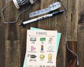 A Teacher Changes Lives Greeting Card - Teacher Appreciation Week May 1-5, 2017 - teacher jobs, gender neutral, whimsical illustrations