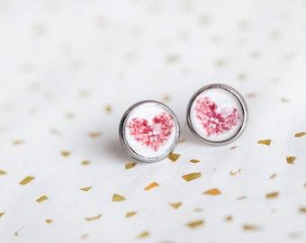 Red Heart Stud Earrings, Red, Heart Stud Earrings, Red Heart Studs, Heart Studs, Heartbeat, Red White Studs, Love, Red Heart Jewelry