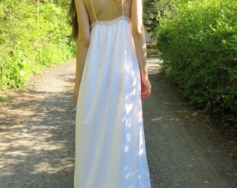 SPRING SALE! i do - white organic cotton bamboo with vintage 60's floral accordian lace boho hippie festival beach wedding maxi dress xs/s