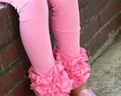 Pink Ruffle Leggings - Bubblegum Pink Ruffle Leggings - 2016 Holiday Collection knit ruffle leggings - size 6m to 8 with FREE SHIPPING