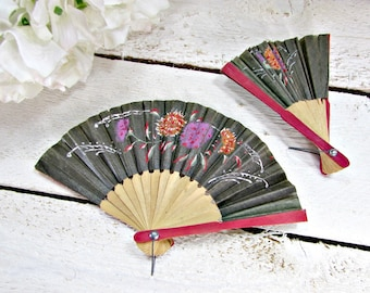 Vintage Folding Hand Fans, Japanese Chinese Asian Fans, Small Paper Wood Fans, Gray Red Flower Hand Fans, 1970s Asian Home Decor Wall Art