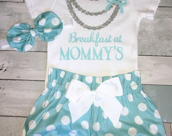Breakfast At Tiffany's Onesie, Cake Smash Outfit, Girls 1st Birthday Onesie Outfit,Knot Bow Headband,Carters,Sparkly Glitter Necklace Onesie