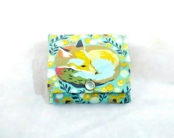 SALE Unique Folding Coin purse, change purse, coin pouch, fox, woodland creature