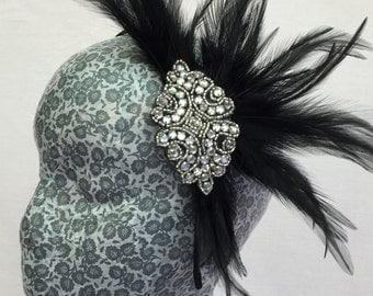 crystal applique on black feather headband
