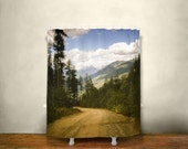 Mountains Shower Curtain, Scenic View, Nature Decor, British Columbia, Nelson BC, Mountain Road, Pine Forest, Epic Sky Decor