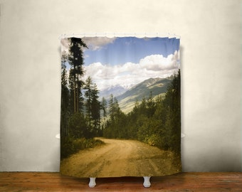 mountains shower curtain scenic view nature decor british columbia nelson bc