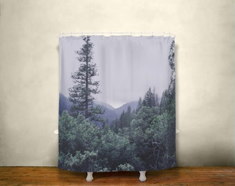 hang low stand tall forest shower curtain nature decor northern california mountain