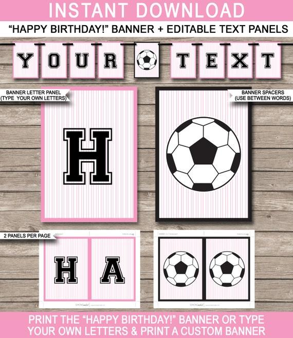 Girls Soccer Party Banner Happy Birthday Banner Custom