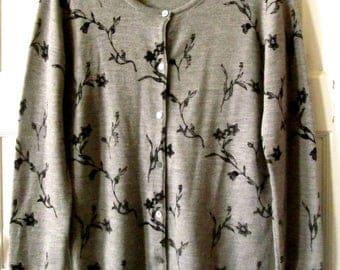 Gray Merino Wool Cardigan Sweater, M, Vintage