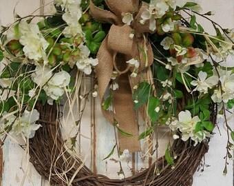 Front Door Wreath, farmhouse wedding wreath, Burlap Wreath, Greenery Wreath for All Year Round, Green Wreath, Natural Wild Front