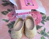 Gold Metallic cotton flats for 14.5 inch doll such as Wellie Wishers - skirt and top available  too