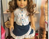 Floral sleeveless top and denim ruffle skirt for 18 inch dolls - denim ruffle skirt for 18 inch doll - sleeveless white floral top