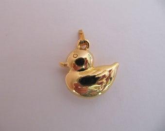 Vintage Lenox goldtone duck charm, collectible Lenox China treasure box charms, charm for necklace pendant or charm bracelet, unused