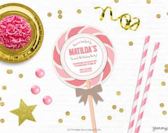 Personalized Printable Lollipop Invitation - Invite and Favor Tag or Printable Party Invite for Birthdays or Candy Themed Parties