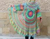 Crochet Bohemian Colorful Vest, Festival Vest, Bohemian Long Vest, Boho Style Vest, Hippie Bolero, Long Sleeves Circular Vest, Mandala Vest