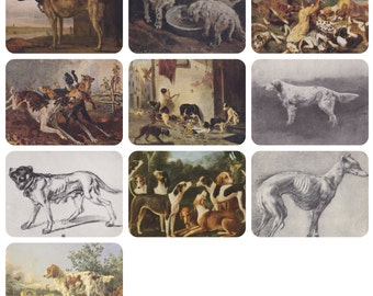 Paintings with Dogs. Collection / Set of 10 Vintage Prints, Postcards -- 1950s-1980s