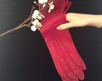 Vintage Valentines Day Gloves By Superb Caresskin Red Leather Unlined Long Gloves, Vintage Leather Gloves, Vintage Red Gloves