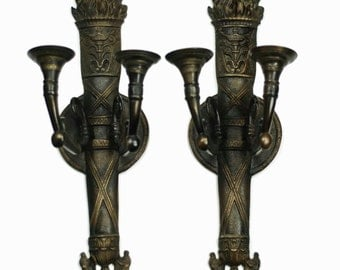 Antique French Empire Style Torch Motif Double Light Wall Sconces