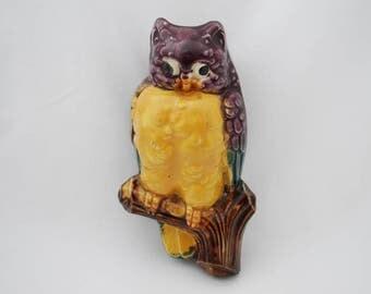 Vintage Colorful Owl Wall Pocket - 1950's Wall Decor - Vase - Garden Planter - Vibrant Glazed Ceramic - Japan