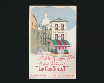 Vintage 1950's Le Consulat Cabaret Restaurant - Restaurant Advertising Card - La Butte Montmartre, Paris