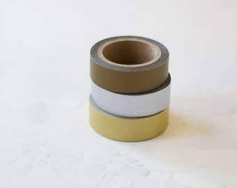 Solid Metallic Washi Paper Tape - Bronze / Silver / Gold