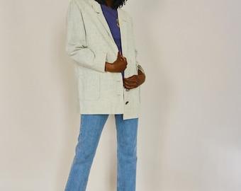 80's Vintage Linen Oversized Blazer