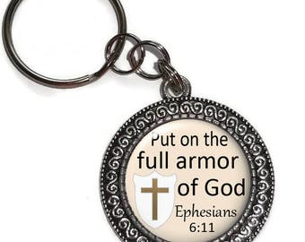 Key Chain Or Purse Charm, Put On The Full Armor Of God, Ephesians 6:11, Key Ring, Zipper Pull, Religious, Bible Verse, Scripture, Faith