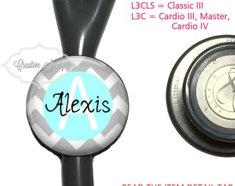 Stethoscope ID Tag, Personalized Grey-Blue Chevron, See Item Details Tab for Specific Models, (Read Carefully), Littmann Stethoscope Tags