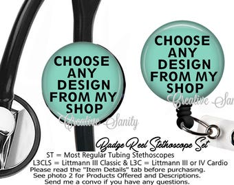 Nurse ID Set, Stethoscope ID Tag and Badge Reel Combo Set, Any Design From My Shop, READ Listing Carefully