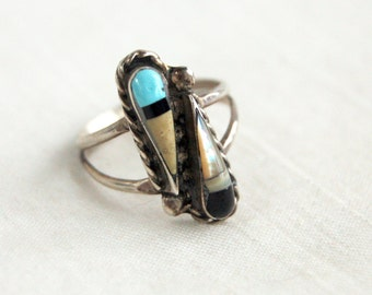 Zuni Ring Turquoise Size 7 Mother of Pearl Opal Onyx Sterling Silver Boho Style Muted Teardrop