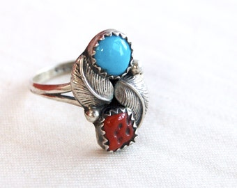 Turquoise Red Coral Ring Size 6 .5 Vintage Sterling Silver Double Feather Southwestern Boho Jewelry