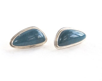 Blue Stone Post Earrings Vintage Mexican Abstract Posts Studs Southwestern Statement Jewelry