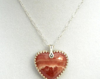 Rhodocrosite Heart Necklace in Silver
