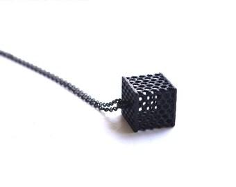 minimalist necklace - Perforated Black Honeycomb Cube Pendant. modern geometric jewelry, 3D Printed.
