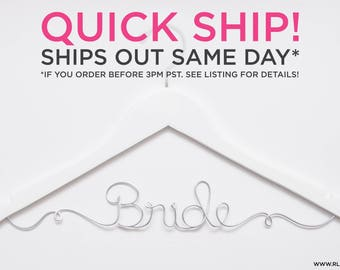 QUICK SHIP / Ships Same Day / Bride Hanger / Wedding Hanger / Personalized Bridal Hanger / Wire Name hanger / Wire Hanger / Name Hanger