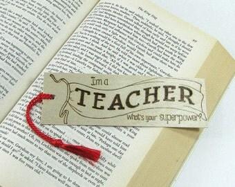 Teacher Bookmark. Teacher Quote. Teacher Gift. Wood Bookmark. Hand Pyrography. Unique Bookmark. Special Teacher. Superhero