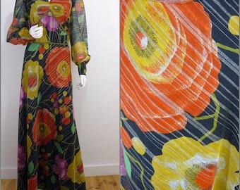 Funky Pop Flower VINTAGE 1970s Retro Black Gold Metallic Stripe Maxi Dress / UK 14 / FR 42 / Psychedelic / Balloon Sleeve