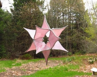 Stained glass suncatcher, window or outdoors hanging, 3 dimensional Floral pink Star 3D stained glass hanging, 10 by 10 by 7 inches
