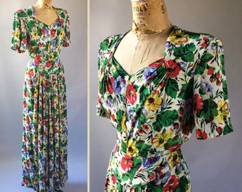Ecstatic 1930s Vintage Bright Floral Print Maxi Dress Puff Sleeve Gown