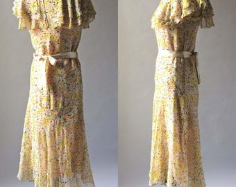 Gorgeous 1920s Vintage Printed Silk Chiffon Day Dress Bright Yellows Orange Green & Brown Butterfly Shoulder