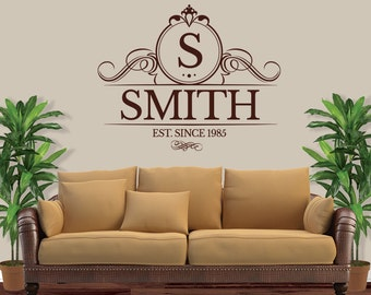 Personalized Family Name Decal - Monogram Wall Decal - Last Name Decal - Family Name Decal - Vinyl Wall Decal - LibreBaskerville - 1004
