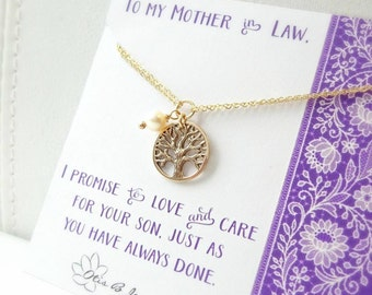 Mother in law gift, sentimental message card & bracelet set for mother of the groom, bride gift to mom, family tree charm, Wedding jewelry