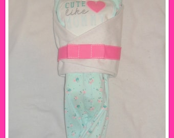Baby Girl Pink Teal Cute Like Mommy Diaper Cake Baby-Gorgeous Centerpiece/Gift
