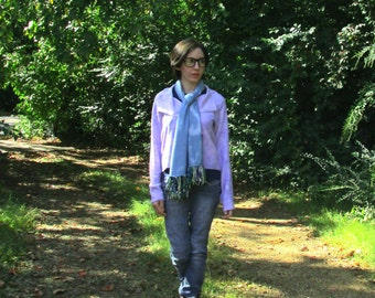 S. Audrey jacket in bamboo fleece fabric, hand dyed, lilac. Many ways to wear it! Soft and cozy.