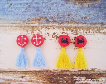 Nautical Tassel Button Earrings,Beach Studs,Button Jewelry,Fabric Button Earrings,Tassel Earrings,Tassel Studs,Fabric Jewelry,Textile Studs