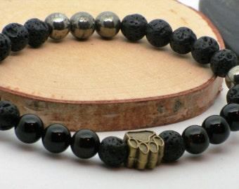 Bracelet pour homme//bracelet extensible//pierre volcanique//bracelet noire//amérindien//native men bracelet//black lava//stretch bracelet