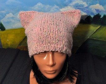 Cat Ears Hat, Pink Pussycat Hat, Cat Lover Hat, Pussy Hat Project, Winter Hat, Pussy Power, Cat Beanie, Feminist Hat, Pink Pussy Hat